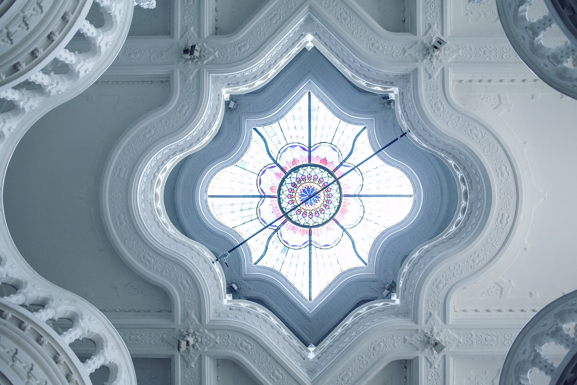 ornamental ceiling with colorful stained glass